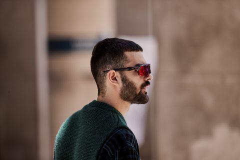 Eyewear, Hair, Facial hair, Sunglasses, Glasses, Beard, Hairstyle, Chin, Cool, Vision care,
