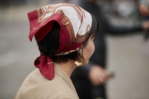 Red, Pink, Tradition, Human, Headgear, Fashion accessory, Flesh, Bandana,