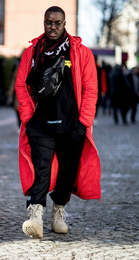 Red, Street fashion, Clothing, Fashion, Outerwear, Jacket, Human, Headgear, Street, Style,