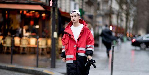 Street fashion, Red, Photograph, Clothing, Fashion, Snapshot, Pink, Street, Footwear, Human,