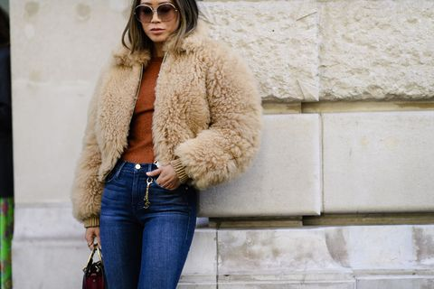 Fur, Clothing, White, Street fashion, Jeans, Fur clothing, Eyewear, Fashion, Outerwear, Beauty,