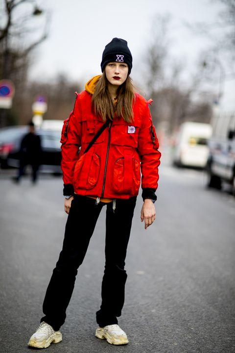 Street fashion, Beanie, Clothing, Red, Photograph, Black, Fashion, Snapshot, Jeans, Pink,