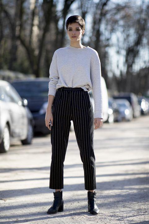 Clothing, Street fashion, White, Fashion, Waist, Fashion model, Black-and-white, Snapshot, Sportswear, Neck,