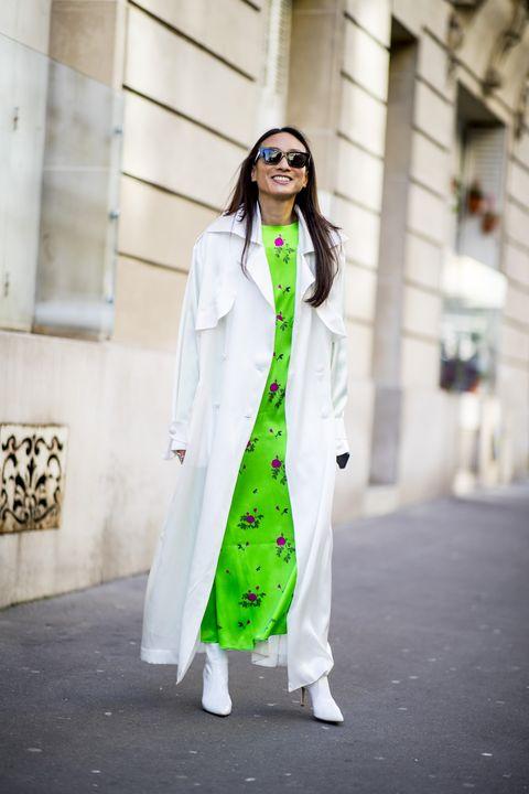 Clothing, White, Street fashion, Photograph, Green, Fashion, Trench coat, Outerwear, Coat, Snapshot,
