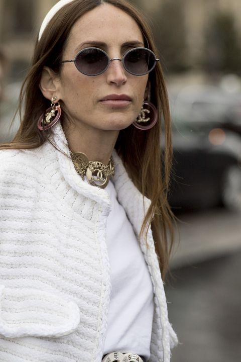 Eyewear, White, Sunglasses, Hair, Street fashion, Fashion, Glasses, Clothing, Lip, Beauty,