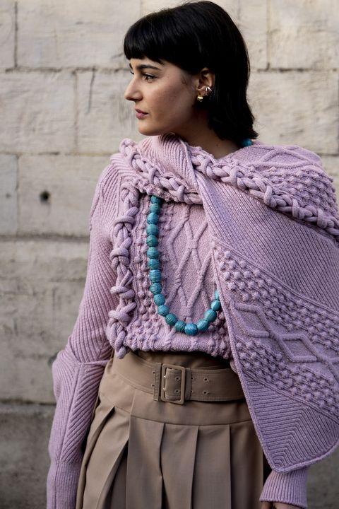 Clothing, Woolen, Purple, Wool, Stole, Outerwear, Knitting, Crochet, Shawl, Fashion,