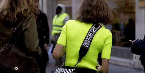 Green, Street fashion, Yellow, Street, Pedestrian, Snapshot, Fashion, Standing, Jacket, Road,