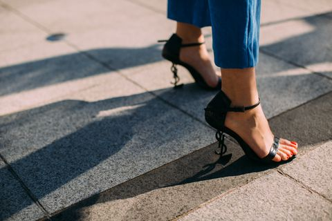 Human leg, Footwear, Leg, Blue, Black, Shoe, Street fashion, Ankle, Foot, High heels,