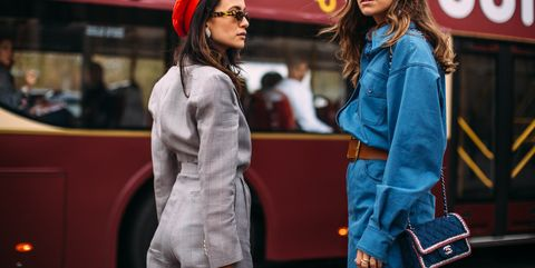 Street fashion, Fashion accessory, Fashion, Bag, Denim, Luggage and bags, Long hair, Brown hair, Shoulder bag, Scarf,