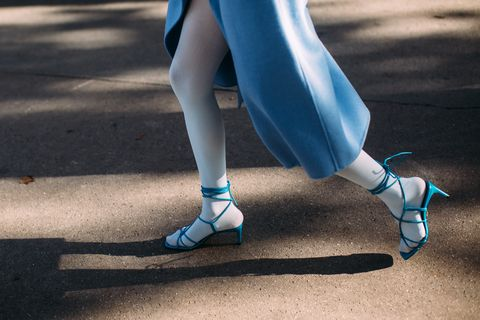 Blue, Human leg, Footwear, Leg, Ankle, Shoe, Tights, Turquoise, Electric blue, Joint,
