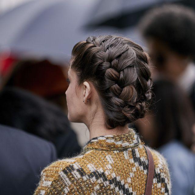 Ear, Hairstyle, Umbrella, Style, Fashion, Braid, Street fashion, Bun, Hair coloring, Hair accessory,