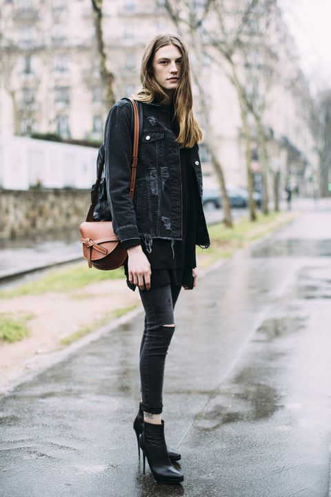 Clothing, Street fashion, Black, Photograph, Leather, Footwear, Shoulder, Fashion, Jeans, Outerwear,
