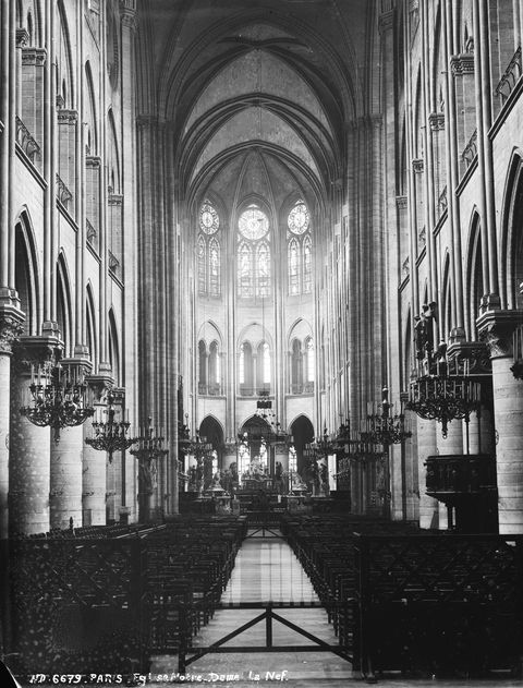 Paris (Ist district). The nave of the Notre-Dame c