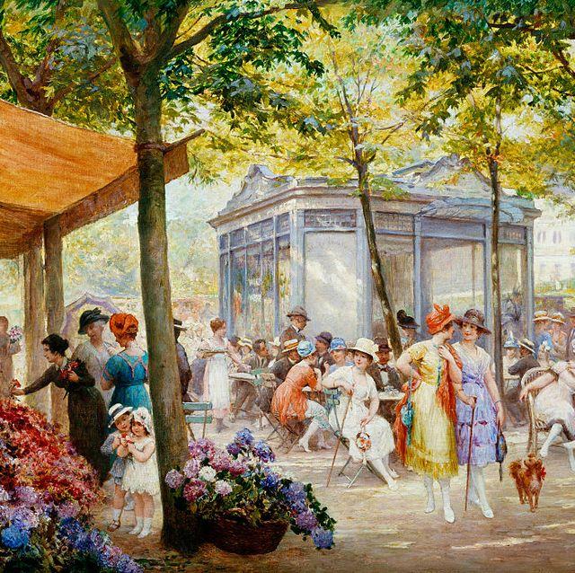 a-Parisian-Flower-Market-by-Eugene-Auguste-Francois-Deully