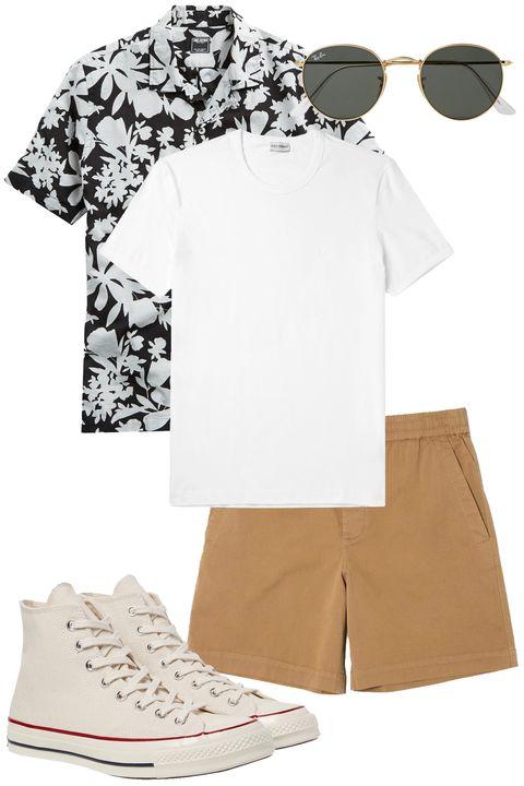 White, Clothing, Product, Sleeve, Footwear, T-shirt, Beige, Shorts, Eyewear, Shoe,