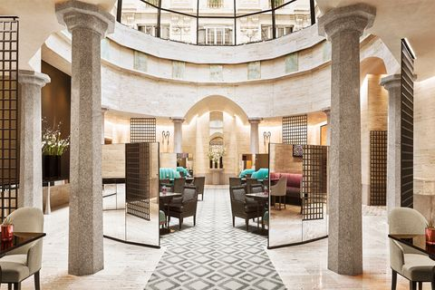 Building, Lobby, Property, Interior design, Architecture, Column, Room, Real estate, Arch, Ceiling,