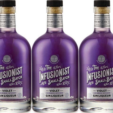 Liquid, Product, Bottle, Purple, Drink, Violet, Lavender, Alcoholic beverage, Logo, Glass,