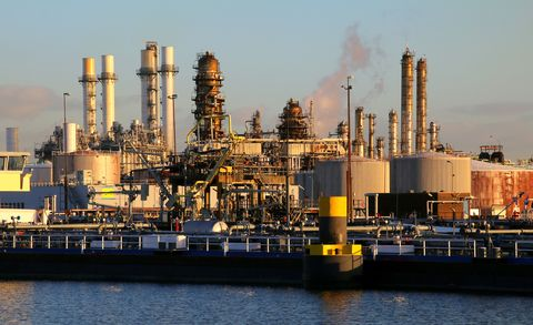 part of a big refinery near rotterdam, the netherlands