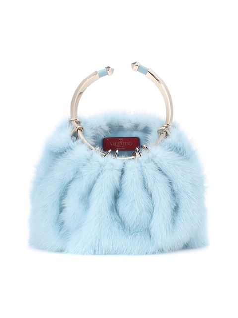 Handbag, Bag, Fur, White, Blue, Turquoise, Fashion accessory, Shoulder bag, Turquoise, Kelly bag,
