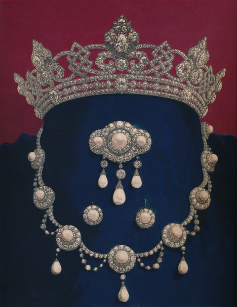 parure of diamonds and pearls   the gift of hrh the prince of wales 1863