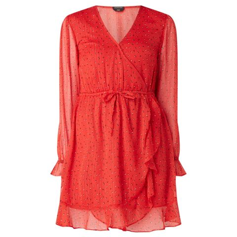 Clothing, Dress, Day dress, Red, Orange, Cocktail dress, Sleeve, Pink, Neck, Outerwear,