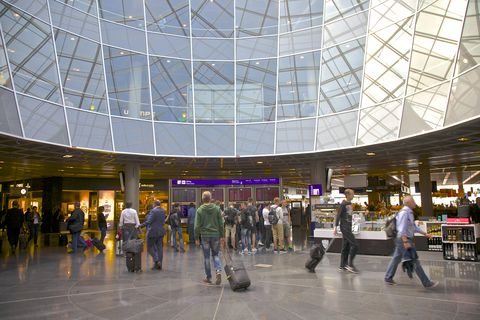 Passengers at airport, Frankfurt, Germany