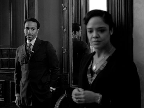 andré holland as brian and tessa thompson as irene in netflix's passing