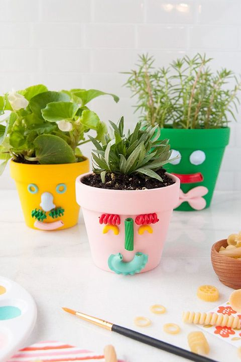colorful planters with faces made of pasta