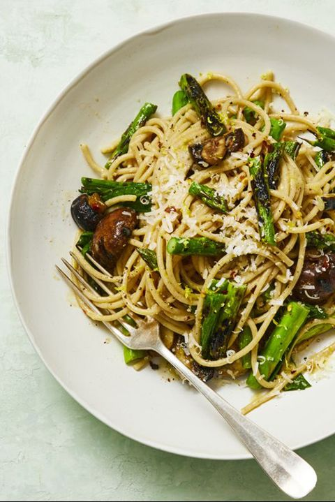 pasta recipes whole wheat spaghetti with grilled asparagus and scallions