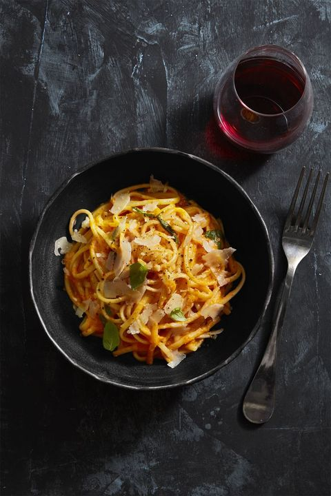 Pasta with Red Pepper Alfredo - Valentine's Day Dinner Ideas