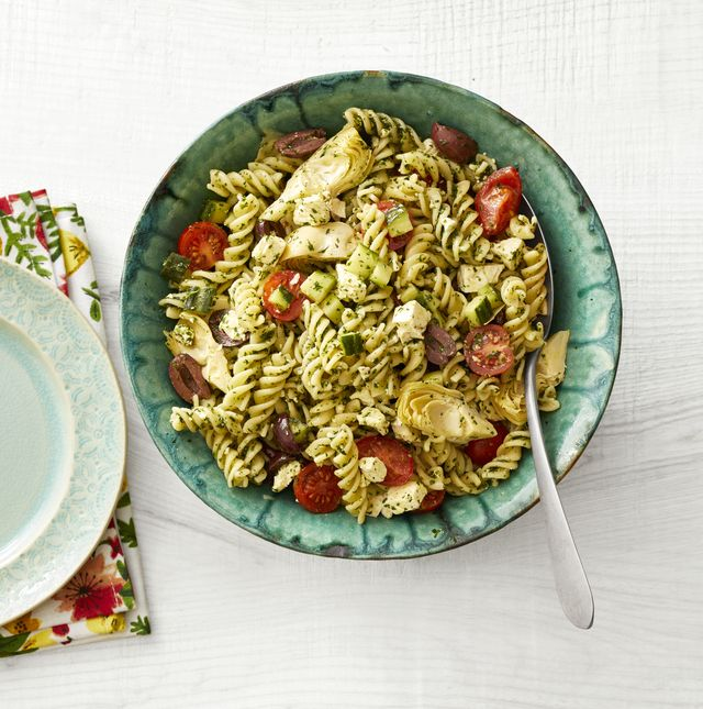 pasta salad in blue bowl