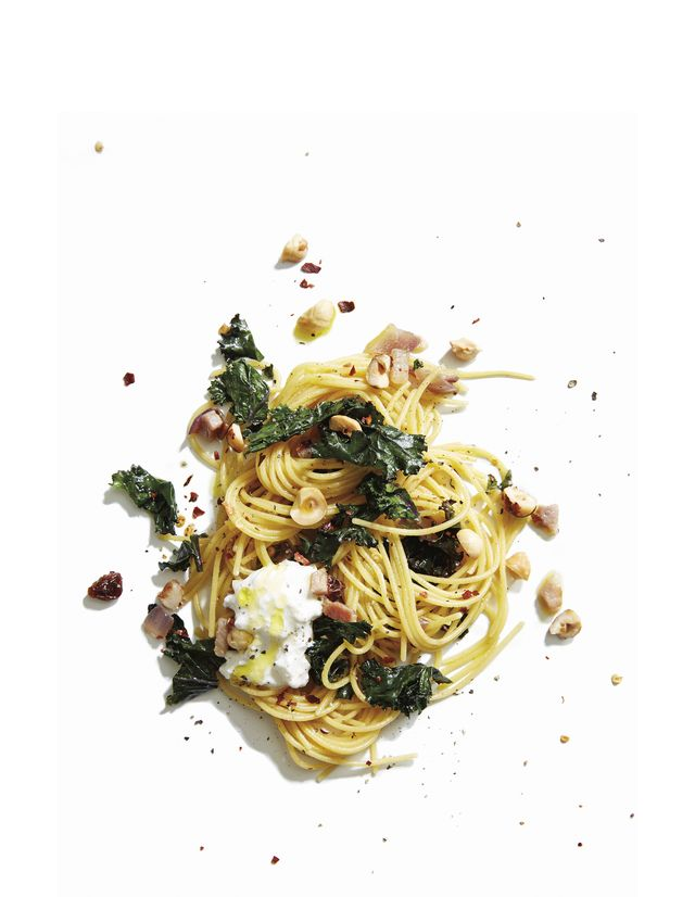 gf pasta with kale and burrata