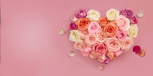 Pastel colour heart shape bouquet.