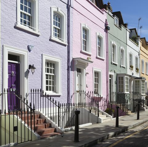 Pastel coloured terraced houses, Bywater Street, Chelsea, London, England, United Kingdom, Europe