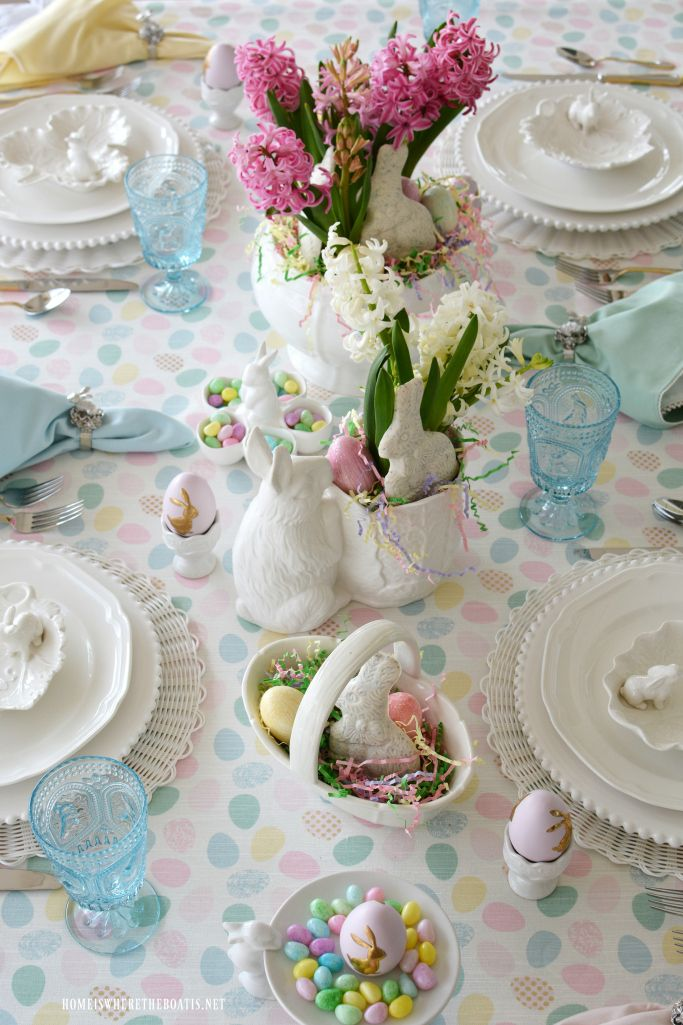pastel easter egg polka dot table decoration