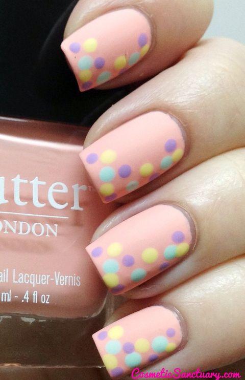 polka dot pastel easter nail design