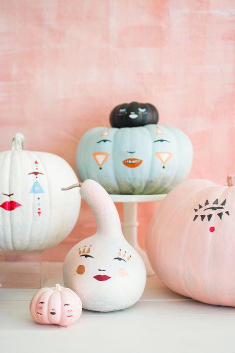 pastel pumpkin faces decoration