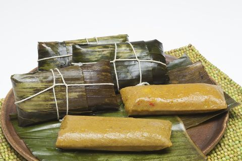 pasteles en hoja or dominican pasteles on a dish