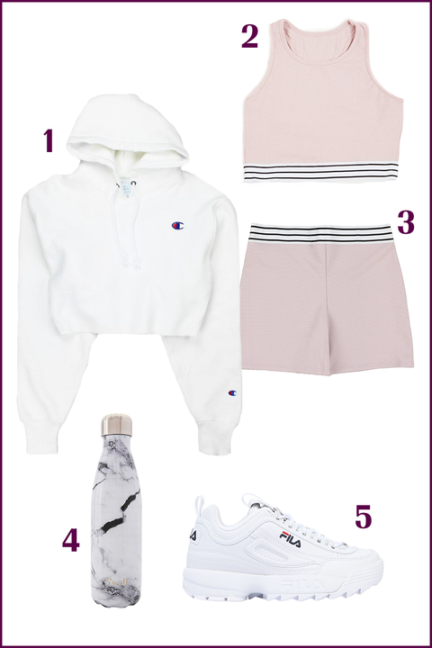 White, Clothing, Product, Pink, Outerwear, Footwear, Sleeve, Sportswear, Shorts, sweatpant,