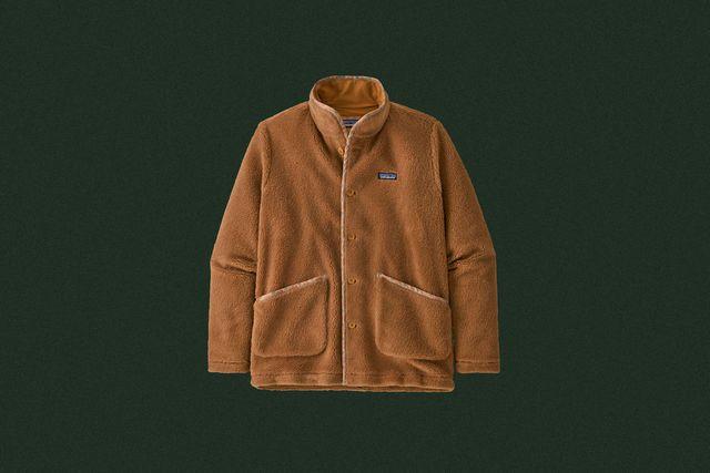 a light brown fleece coat with buttons