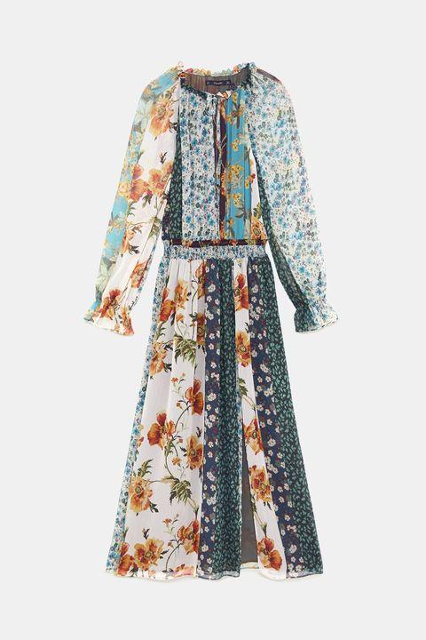 Clothing, Dress, Day dress, Sleeve, Robe, Outerwear, Pattern, Costume, Blouse, Pattern,