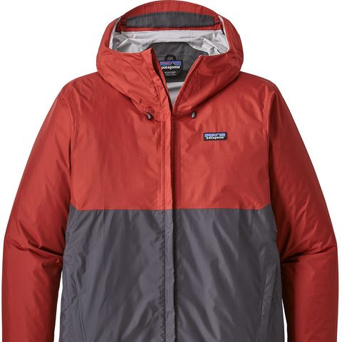 a red and gray rain jacket