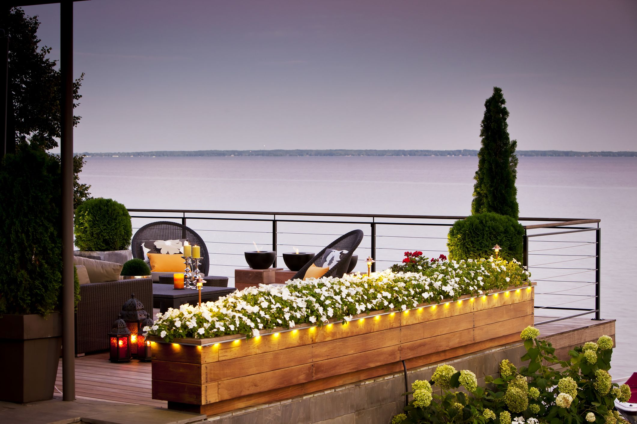 High Quality Patio Over Looking The Lake At Sunset.