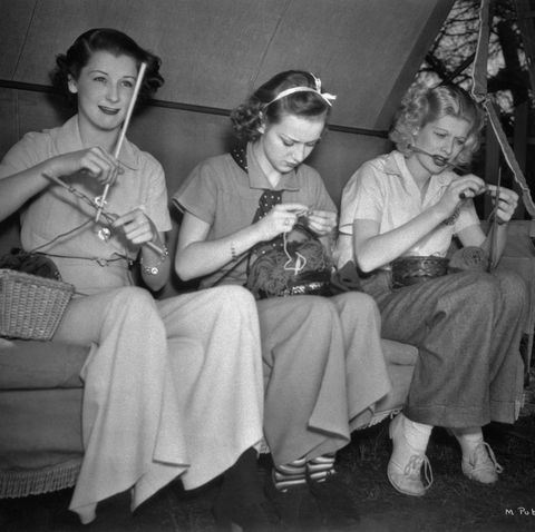 lucille ball on set   knitting