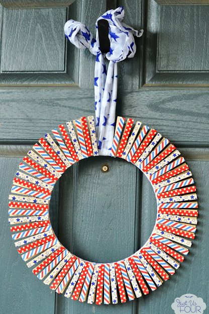 patriotic washi tape wreath