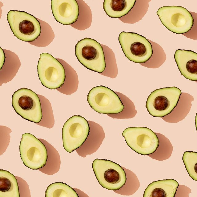 pattern of halved avocados