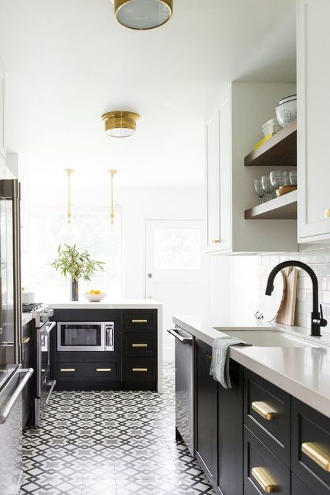 galley kitchen patterned floor