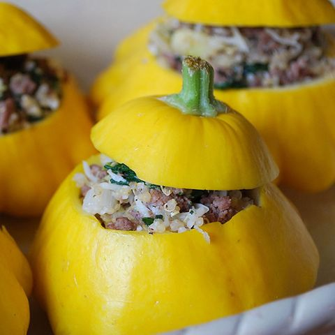 Quinoa, Beef, and Spinach Stuffed Patty Pan Squash