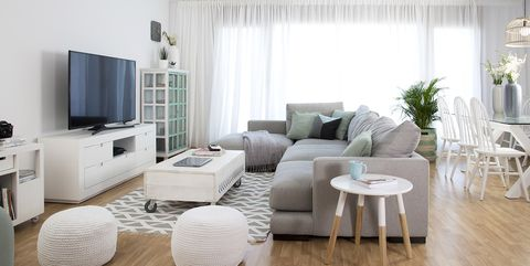 Living room, Furniture, Room, Interior design, White, Property, Coffee table, Floor, Table, Curtain,