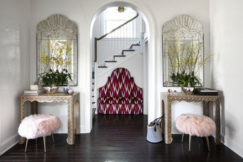Interior design, Room, Furniture, Wall, Floor, Interior design, Arch, Houseplant, Natural material, Molding,